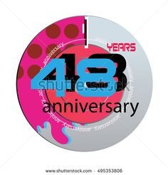 48 years anniversary logo with pink color disc. anniversary logo for birthday, wedding, celebration and party