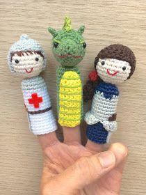 Crafteando, que es gerundio: Patrón: Muñecos de dedo de Sant Jordi, Princesa guerrera y Dragón / Pattern: Finger puppets of Saint George, Princess warrior and Dragon