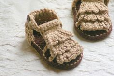 Moccasin sandal baby booties for my Norah, $5.50
