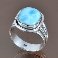 LARIMAR 925 SOLID STERLING SILVER HOT RING 6.28g DJR9055 SZ-9 #Handmade #Ring