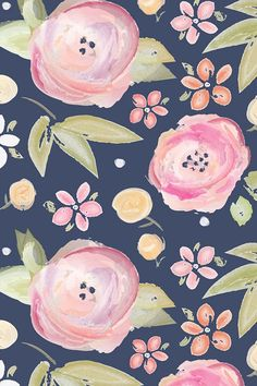 Watercolor floral in navy by sugarfresh - Hand painted watercolor flowers and leaves on a navy background on fabric, wallpaper, and gift wrap. Beautiful hand painted flower design in pastels.