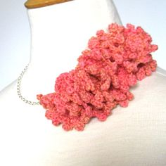 Crocheted Statement Necklace  Coral Ruffle on by KnittingGuru, $65.00