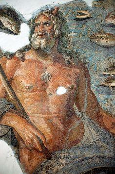Mosaic of Oceanus (Okanyus Mozayiği) - Hatay Archaeological Museum (Hatay Arkeoloji Müzesi), Antakia Ancient Rome, Ancient Art, Ancient History, Roman History, Art History, Art Macramé, Art Rupestre, Mosaic Artwork, Roman Art