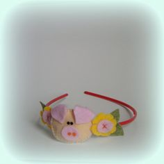 Baby Pink headband Yellow pink pig easter Girls by BBBsDesigns, $14.00
