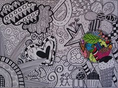 Using Lines In Drawing : Untitled triptych zentangle and high school