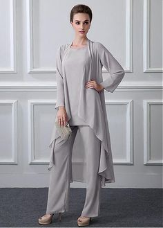 Chic Pant Suits Chiffon Jewel Neckline Full-length Mother Of The Bridal Dresses With Detachable Coat