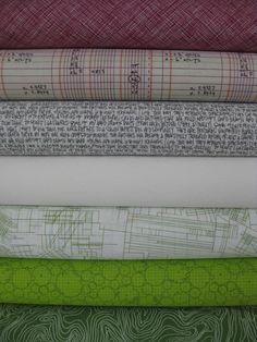 Carolyn Friedlander, Architextures, Plum/Grass in FAT QUARTERS, 7 Total