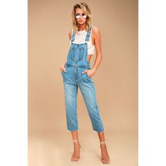 EVIDNT Henriette Medium Wash High-Waisted Overalls ($78) ❤ liked on Polyvore featuring jumpsuits, blue, blue bib overalls, blue overalls, denim overalls, cropped jumpsuit and blue denim jumpsuit