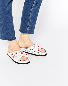 Kat Maconie Fifi White Paint Splat Slider Flat Sandals