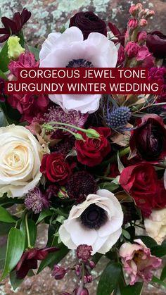 GORGEOUS JEWEL TONE BURGUNDY WINTER WEDDING