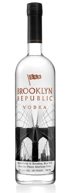Brooklyn Republic Vodka Bottle. Love the bridge silkscreen.