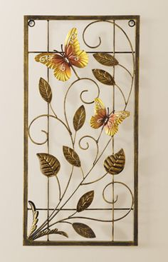 Butterfly Scroll Metal Wall Art - Hang this anywhere for some great visual interest.  Could also be hung in a window that gets ample sunlight.  Would look really pretty on a sunporch or even in a basement window well to distract from the inside.