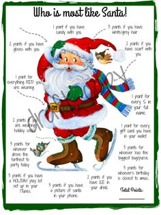 Holiday Party Games Who is most like Santa Game Instant image 0 Fun Christmas Party Games, Xmas Games, Holiday Games, Holiday Parties, Holiday Fun, Christmas Holidays, Christmas Gifts, Christmas Trivia, Christmas Ideas