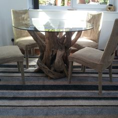 Natural Driftwood Round Dining Table Base With 1200mm Diameter Glass Top  Www.dorisbrixham.com