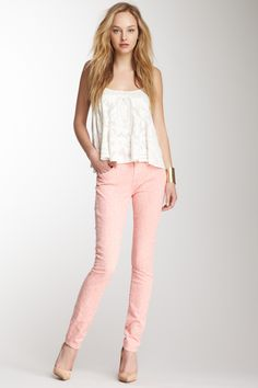 Gwenevere Laser Skinny Jean, blush with cream lace cami top