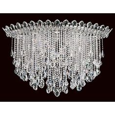 Schonbek Polished Stainless Steel Trilliane Strands 8 Light Wide Flush Mount Waterfall Ceiling Fixture with Clear Swarovski Spectra Crystals Dining Room Lighting, Chandelier Lighting, Crystal Chandeliers, Room Lights, Ceiling Lights, Night Lights, Light Eyes, Flush Mount Ceiling, Ceiling Fixtures