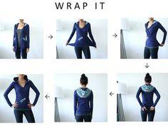 HOLIDAY SALE - Hoodie Wrap, EcoFriendly Fabric, Womens Sweater Wrap, Japanese Print and Bamboo Eco Friendly Jersey - KANA