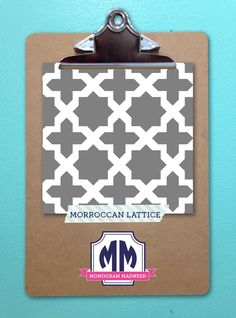 Re-pin your favorite of our top 16 selling patterns! Pattern with the most re-pins will be 50% off on March 25th! #monogram #maydesigns #moroccan #lattice