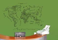 Mapamundi Perfilat \ KS (180x120 cm) \ Vinils decoratius mapes