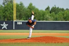 Christopher Baldi finishing his pitch at the Perfect Game Showcase in East, Cobb Georgia July 2012