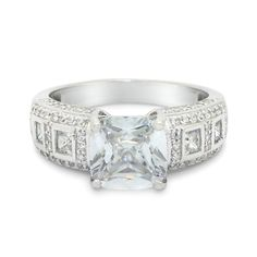 Gioelli Designs Sterling Silver 8mm Round-cut Cubic Zirconia Designer Ring
