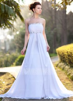 Empire Strapless Court Train Ruffle Beading Zipper Up Garden / Outdoor General Plus No Spring Summer White Chiffon Wedding Dress