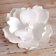 Large White Gumpaste Magnolia readymade gumpaste cake topper decoration. | CaljavaOnline.com
