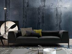 Upholstered sofa with removable cover METROPOLITAN | Imitation leather sofa - Poliform