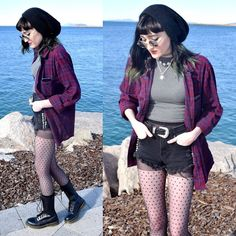 I love the flannel with the shorts and tights and boots. I like the colors.