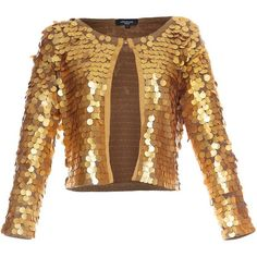 Aftershock Janella sequin jacket (£80) ❤ liked on Polyvore featuring outerwear, jackets, tops, coats, casacos, coats & jackets, gold, women, evening jackets and long sleeve jacket