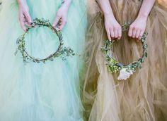 Halo! Flower halos for bridesmaids are beautiful! Vintage Woodland Wedding Inspiration #bridal halo #flowerheadwreath #weddingflowers