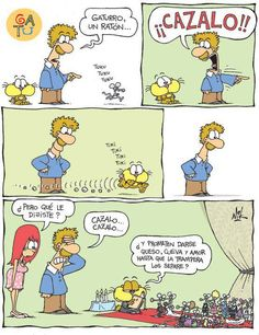 "XD, La pronunciación de la ""s"" y de la ""z"". ""Hunt it"" vs. ""Marry it"", jajaja.love it! Now if I can find a visual that shows esposas 'wives' vs. 'esposas' handcuffs, I will have all I need to demonstrate the sexism in the language. Spanish Posters, Spanish Jokes, Spanish Lessons, Learn Spanish, Spanish Sentences, Cartoon Memes, Funny Cartoons, Funny Memes, Examen Oral"