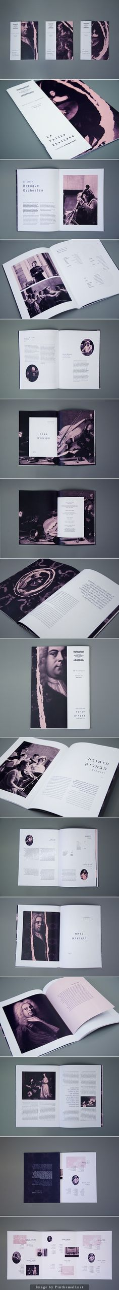 Jerusalem Baroque Orchestra, is the first Israeli orchestra playing baroque music instruments and musical techniques that were common in those days. The renewed branding is designed to expose the orchestra to new audiences and express her uniqueness. Page Layout Design, Magazine Layout Design, Graphic Design Layouts, Book Layout, Book Design, Typography Layout, Graphic Design Typography, Graphic Design Illustration, Brochure Layout