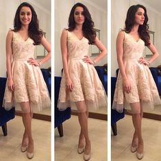 Shraddha Kapoor was dressed in a pretty peach dress and nude pumps for KBC.