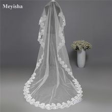 Backlake Girls Cheap Cathedral Wedding Veil Accessories 3 Meter Voile Mariage Lace Cotton Bride Veils 2018(China)