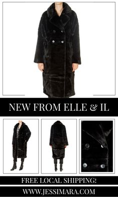 This is the 'Trini' Black Faux Fur Long Coat by stunning brand, Elle & Il. This gorgeous piece features a lovely collar, a central button fastening, and side pockets. This is the perfect piece to carry you into the colder season! Long Faux Fur Coat, Shop Now, Pockets, Button, Clothing, Shopping, Collection, Black, Outfits