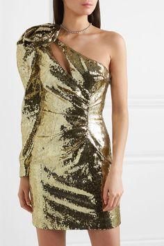 Dundas - One-shoulder Sequined Crepe Mini Dress - Gold Senior Prom Dresses, Gala Dresses, Short Dresses, Prom Gowns, Mini Dresses, Sexy Dresses, Ball Gowns, Wedding Dresses, New Years Eve Dresses