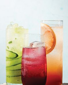 Add some variety to your lemonade-and-iced-tea routine with one of these cool, fruit-filled sparklers. They're deft as midday thirst-quenchers -- and delightful spiked to make fun cocktails for an evening get-together. Start with the refreshing pineapple-cucumber combo, then try the Hibiscus-Ginger Spritz and Spicy Grapefruit Spritz. Sip and repeat!