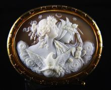Huge Victorian 14K Cameo of Day and Night (Eos and Nyx) from Vivien's Treasure Wonderland: Cameos on Ruby Lane