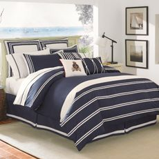 Masculine and nautical option for guest room  Bay Harbor Duvey Cover (BBB 129)