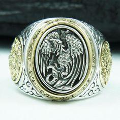 PHOENIX OF THE RISING SUN 925 STERLING SILVER US SZ 12.5 MEN BIKER RING gb-r010   Jewelry & Watches, Men's Jewelry, Rings   eBay!