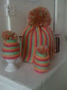orange & green machine knit tea and egg cosy