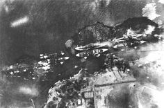 Oil from the USS West Virginia spreads into the waters of Pearl Harbor in this aerial view from a Japanese bomber