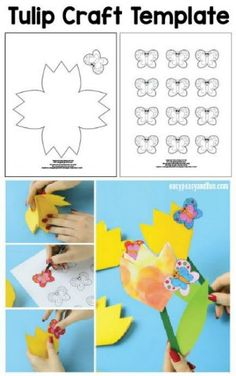 Paper Tulip Flower Craft with Printable Template - Easy Peasy and Fun Cute Crafts, Diy And Crafts, Crafts For Kids, Paper Crafts, Tulips Flowers, Paper Flowers, Clock Template, Wonderful Flowers, Flower Template
