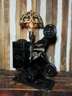 One-of-a-kind Vintage Keystone E743 Moviegraph Projector Upcycled Repurposed Steampunk Art Desk Lamp w/Edison Style Filament Light Bulb