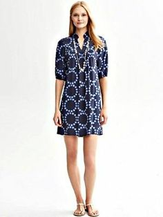 BANANA REPUBLIC Summer 2013 CIRCLE PRINT DRESS in True Navy. Size 10! Available Now! #QFClothing #Fashion #Dress #Banana Republic Stores.eBay.com/QFClothing