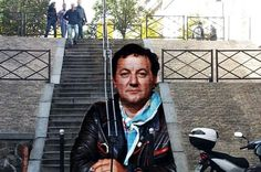 Paris : une fresque en hommage à Coluche. Voilà à quoi ressemblera l'escalier hommage à Coluche réalisé rue Lemaignan (14e) par les deux artistes de street art Zag et Sia.
