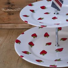 Hand Painted Bone China Strawberry Cake Stand---I sure would like to find one of these!!!