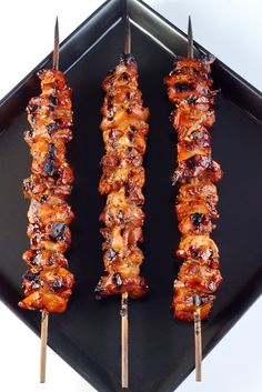 Honey Stout Glazed Chicken Skewers - Grilled chicken skewers made with chicken thighs covered in a sticky, sweet, and tangy beer-spiked glaze. Barbecue Recipes, Grilling Recipes, Cooking Recipes, Vegetarian Grilling, Healthy Grilling, Barbecue Sauce, Vegetarian Food, Grilled Chicken Skewers, Grilled Chicken Recipes