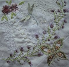 I ❤ crazy quilting & ribbon embroidery . . . Stitching Only DYB for Jackie. Jackie did Not sent my blocks in return.